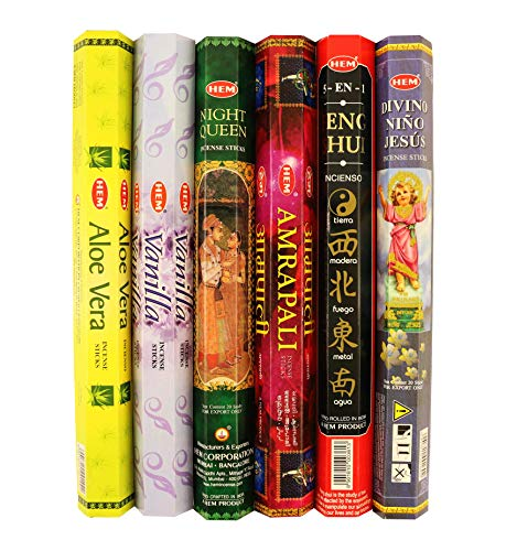 HEM Incense Sticks Variety Pack of 6 Scents | 20 Sticks in Each Hex Box | Hand Crafted in India (One World Blend)