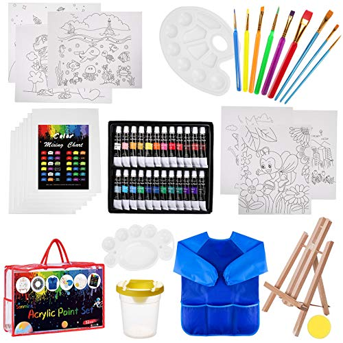 Paint Set For Kids,Senmink 52 Piece Kids Paint Set within 24 Washable Paints,Tabletop Easel,12 Piece 8x10 Canvases, Art Smock,9 Paint Brushes- Young Artist Learn To Paint Set(Storage Bag included)