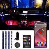 Anykuu LED Coche Interior Tiras LED Coche 4 PCS 48 LED Música Luces Interior Coche Multi Color App Control Remoto Voz USB con Cargador de Coche 12V