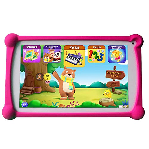 Kids Tablet, B.B.PAW 7 Inch HD Display 2+16G WiFi Android 6.0 Tablet for Adults and Kids, 120+ English Educational Preloaded Apps and Silicone Case-Red