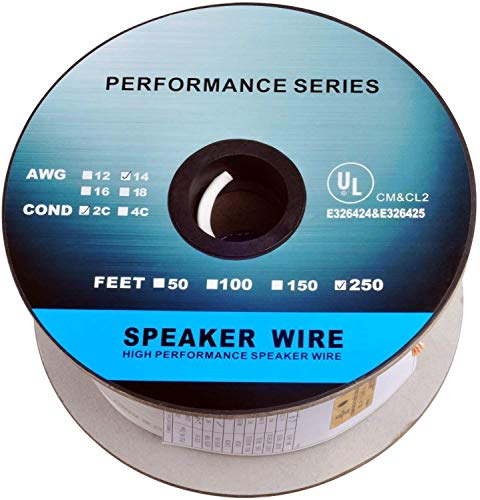 : C&E 250 Feet 14AWG CL2 Rated 2-Conductor Loud Speaker Cable (For In-Wall Installation)