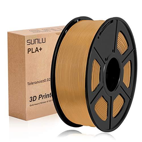 SUNLU Filamento de impresora 3D PLA Plus 1,75 mm 1 kg Carrete, PLA + Filamento Café Marrón 1,75 +/- 0,02 mm para impresión 3D
