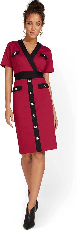 New York & Co. Women's V-Neck Colorblock Ponte Sheath Dress