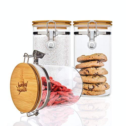 bambuswald© 3er Set Vorratsgläser mit Deckel aus 100% Bambus & luftdichten Metallverschluss - 3 Stück x 900ml - Vorratsdosen Borosilikatglas Glas-Behälter Glasdose Nudelbehälter Keksdose Kaffeedose