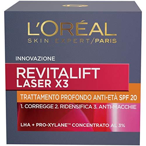 L'Oréal Paris Crema Viso Giorno Revitalift Laser X3, Azione Antirughe Anti-Età con Acido Ialuronico e Pro-Xylane,...