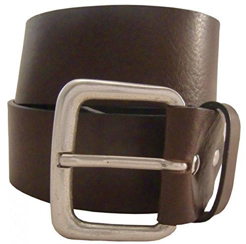 Jeansgürtel aus Vollrindleder 5,0 cm | Leder-Gürtel für Damen Herren 50mm | Breiter Ledergürtel aus echtem Leder in Schwarz Braun