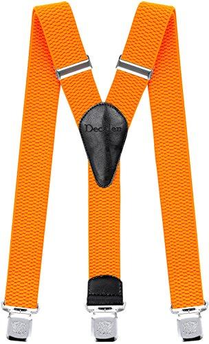 Decalen Hosenträger für Herren breit extra starken Clips Y Form Lang Eine Größe Passt Alle Männer und Damen Verschiedenen Farben (Orange Neon)