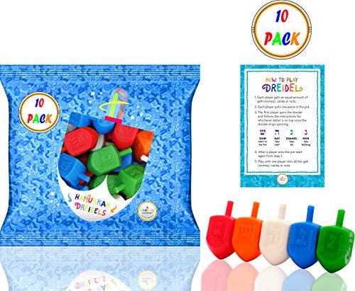 Hanukkah Dreidels 10 Bulk Pack Multi-Color Plastic Chanuka Draydels With English Transliteration - Includes Dreidel Game Instruction Cards (10-Pack)