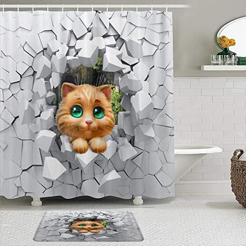vhg8dweh Juegos de Cortinas de baño con alfombras Antideslizantes, Gato Animal Abstracto geométrico,con 12 Ganchos