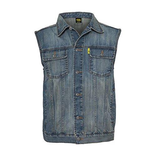 GZM – Ärmellose Jeans-Weste für Herren, Biker-Weste, stonewashed, Farbe: Blau (Denim) XL Denim