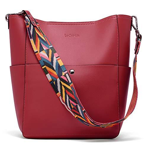 BROMEN Handtasche Damen Leder Schultertasche Umhängetasche Groß Shopper Designer Tasche mit 2 Trageriemen Rot