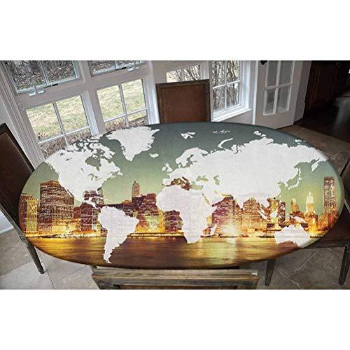 Housse de table élastique en polyester - Cartographie mondiale mondiale - Concept international - New York City - Nappe rectangulaire / ovale - Pour table jusqu'à 121,9 cm de large x 172,7 cm de long