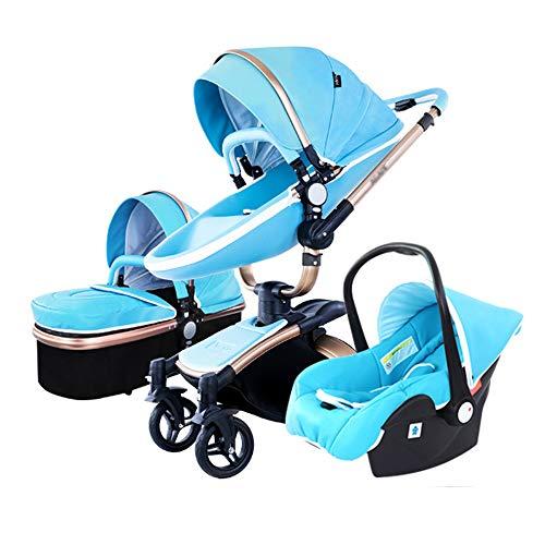 YLLXX Kinderwagen 3in1-Can Sit and Lie-Licht, Baby-Klappbett, mit Markise, Tragekorb, System Travel 360 ° Drehfunktion Kinderwagen Tragegurt Kit + Baby-Bett, großer Einkaufskorb