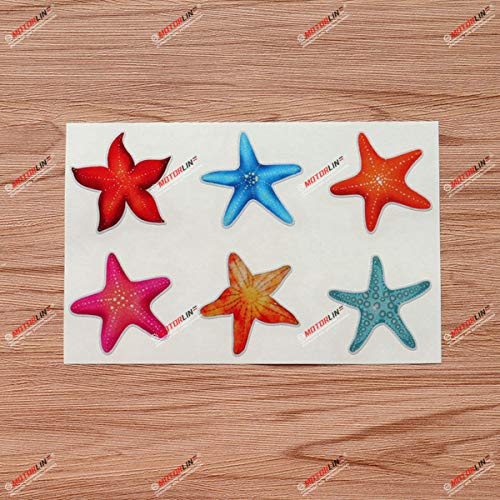 Ocean Starfish Vinyl Decal Sticker Collection Blue Hot Pink Orange Red - 6 Types Reflective, 2 Inches - for Car Boat Laptop Cup Phone 08270