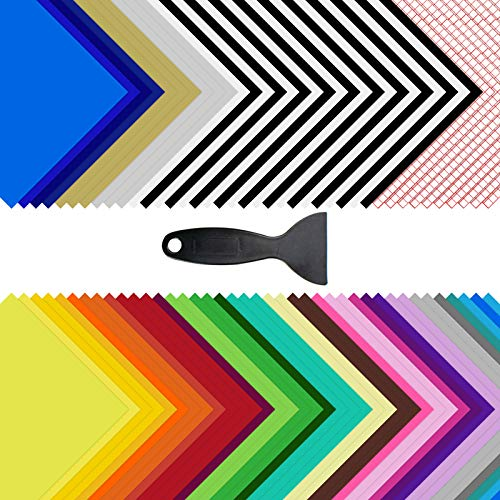 """Permanent Adhesive Vinyl Sheets - 80 Pack 12"""" x 12"""" 35 Assorted Colors Permanent Vinyl for Cutting Machine 70Pack (Matte & Glossy) Outdoor Vinyl for Cricut w/ 10 Pack Transfer Tape by JANDJPACKAGING"""