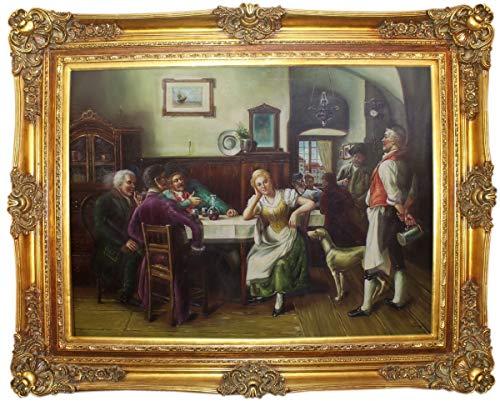 Casa Padrino Barock Ölgemälde Gesellschaft im Wirtshaus Mehrfarbig/Gold 160 x 10 x H. 130 cm - Handgemaltes Gemälde mit prunkvollem Rahmen im Barockstil - Barock Wanddeko