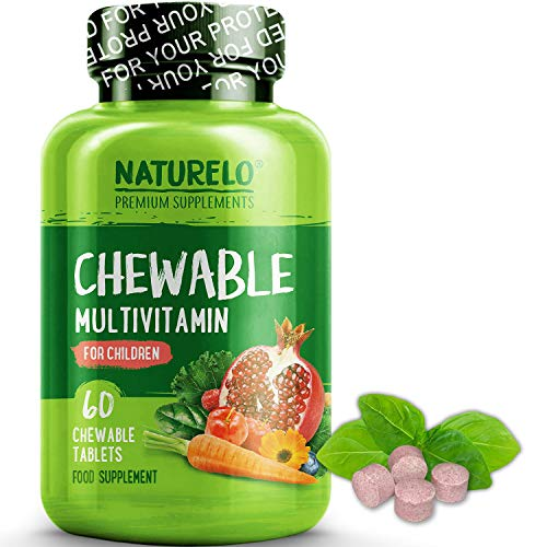 NATURELO Chewable Multivitamin for Children - with Natural Vitamins, Minerals & Whole Food Fruit Blend - Best Supplement for Nutrient Levels for Kids - 60 Chewable Vegan Tablets | 1-2 Month Supply