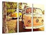 Tableau Moderne Photographique, Impression sur bois, Volkswagen vintage hippie van, 97 x 62 cm, ref. 26606
