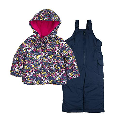 Carter's Girls' Toddler Heavyweight 2-Piece Skisuit Snowsuit, Ditsy Flowers on Navy, 2T