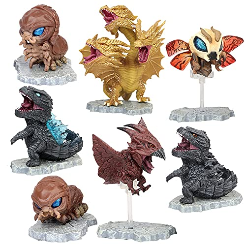 ZOULME Juego de 7 Juguetes Godzilla con Bolsa de Transporte, Figuras de acción articuladas móviles 2021, King of The Monsters Mini Dinosaurio Mothra Mecha Ghidorah Playsets Kids Birthday Cake