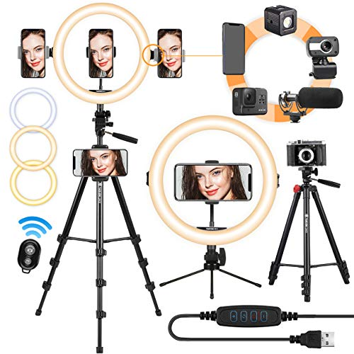 TARION Selfie Ring Light con treppiede 11 pollici LED Ring Light Studio Kit di illuminazione Dimmerabile USB Beauty Ring Light per telefono Streaming live Ritratti video Fotografia(Treppiedi Nero)
