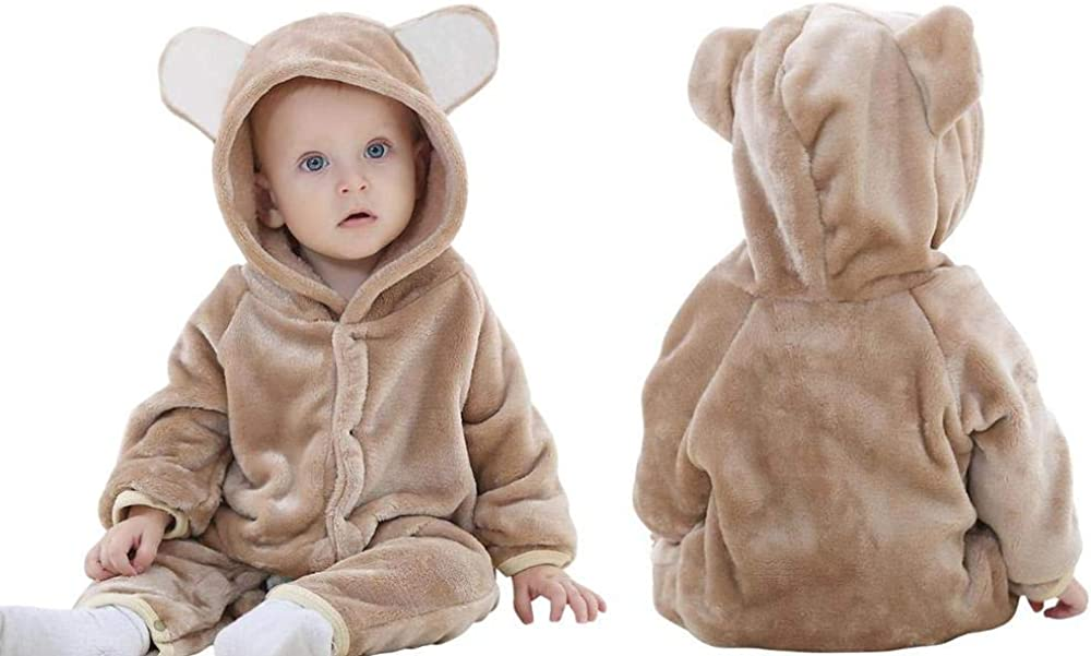 FPD Baby Bear Style Newborn Boy Girl Hooded Winter Romper Animal Cute Pyjamas Baby Outfits Photography Props