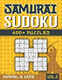 Samurai Sudoku: Sudoku Book for Adults with 1000+ 5 in 1 Sudoku - Normal and Hard - Vol 3