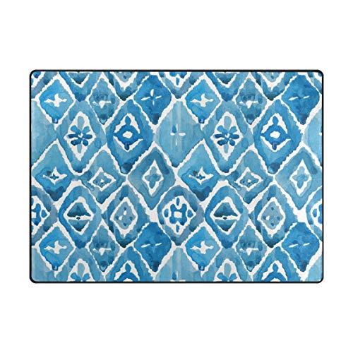 MALPLENA Fleur Bleue Peinture Zone Tapis antidérapant Pad Moyen d'entrée Paillasson Tapis de Sol Chaussures Grattoir, Polyester, 1, 63 x 48 inch