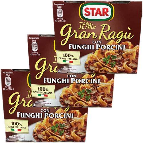 3x Star Il mio Gran ragù 'Con Funghi Porcini' mit Steinpilzen, 2 x 180g