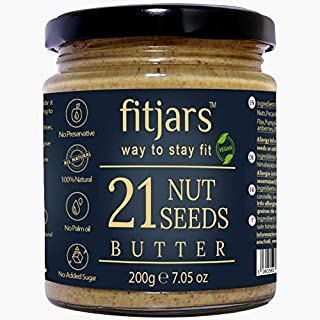 FITJARS 21 Nuts and Seeds Butter, 200 ge All Natural Stone Ground Butter.Crunchy Butters/Natural Butters