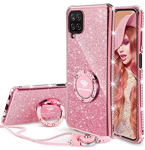 OCYCLONE Funda Compatible con Samsung Galaxy A12, Funda de Diamante Brillante con Cordón y Soporte para Anillo, Glitter Cover Protectora para Samsung A12 para Niñas / Mujeres - Oro Rosa