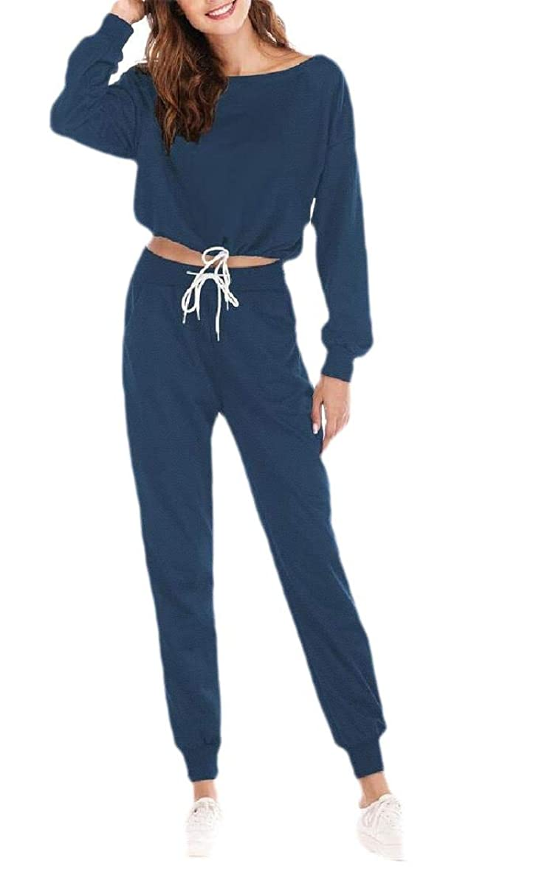 ギャラリー逃げる拒絶女性のツーピースのクロップトップとスウィートパンツセットスポーツトラックスーツの服