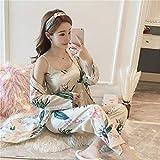 3 Pijamas para Mujer Primavera y Verano Muebles para el hogar Pijama de Tres Piezas Camisa de Vestir Pantalones Anchos