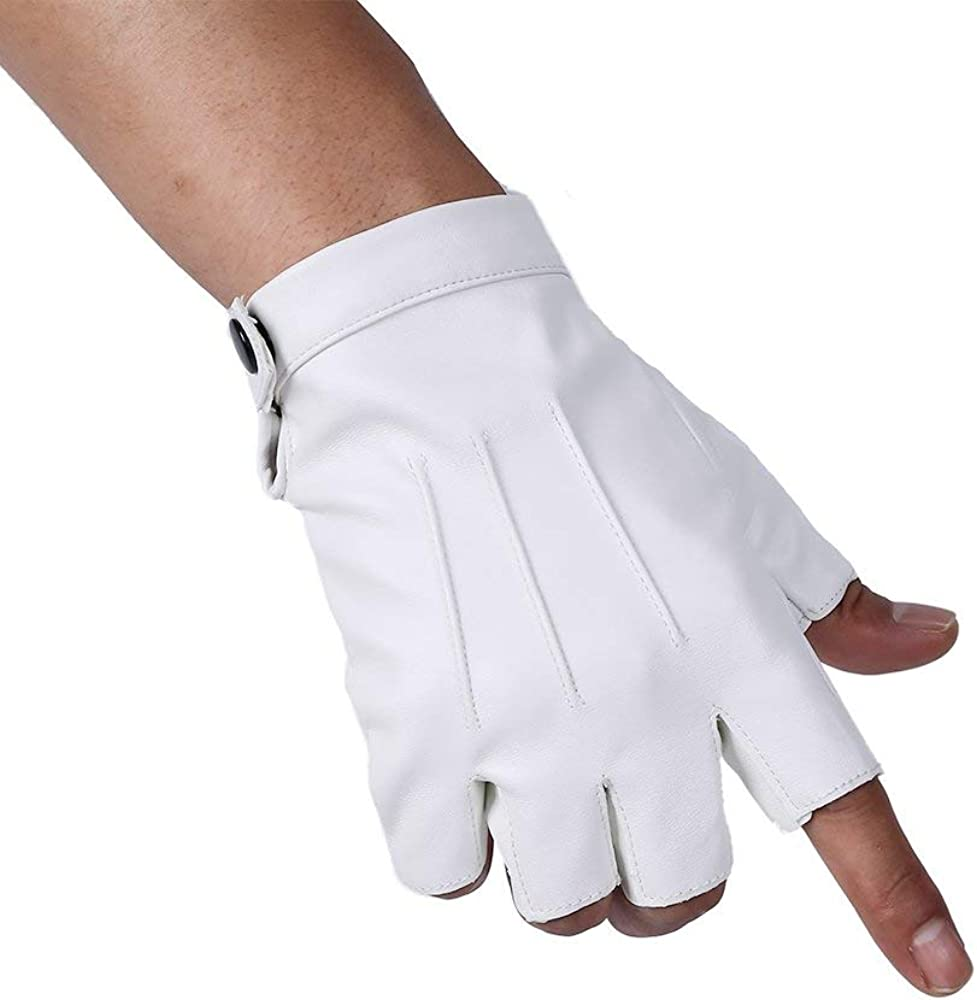 2 Pack Men PU Leather Punk Half Finger Snap Performance Gloves