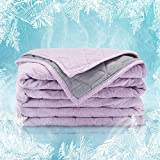 SLEEP ZONE Athlete-Grade Cooling Throw Blanket Reversible Lightweight Breathable Jersey Cotton Cool Blanket Absorbs Heat...