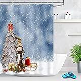 Winter-Schneemann-Duschvorhang Schneeflocke-Holz-Baum-Weihnachtsthema-Badezimmer-Vorhang mit Haken 72x72 Zoll wasserdichtes Polyester-Gewebe-Badezimmerdekorationen