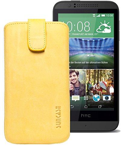 Original Suncase® Etui Tasche für HTC Desire 510 | HTC Desire 526G Dual SIM | ZTE Blade V6 Leder Etui Handytasche Ledertasche Schutzhülle Hülle Hülle *Lasche mit Rückzugfunktion* antik-senfgelb