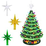 Brobery 16in Pre-Lit Tabletop Ceramic Christmas Tree with Music Box Hand-Painted...