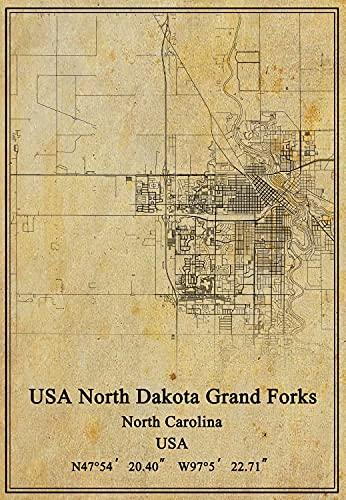 USA USA North Dakota Grand Forks North Carolina Map Wall Art Poster Canvas Print Vintage Style Unframed Decor Gift 16X20 inch