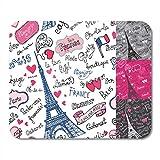 Not Applicable Alfombrillas de ratón Símbolos de París Emblemas de Letras en Doodle Palabras francesas incompletas Alfombrilla de ratón para portátiles, Alfombrillas de Escritorio Material de Oficina