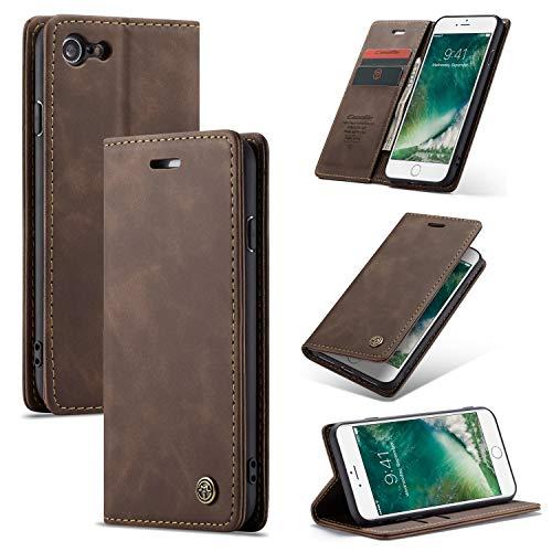 AKC Cover Compatibile per iPhone 7/8/SE(2020) Custodia Pelle Portafoglio con Supporto Flip Magnetica Caso Anti-Slip Flip Pieghevole-caffè