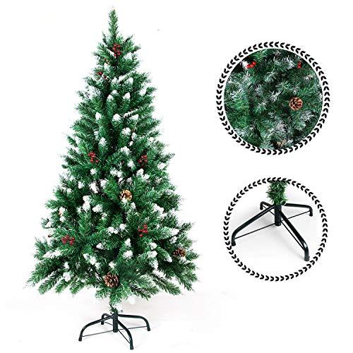 Sunjas Weihnachtsbaum mit Tannenzapfen, 120/150/180/210 cm Tannenbaum künstlich, beschneiten Spitzen und Kunsttanne mit Metallständer, Hochwertiger Christmas Tree, Kiefernzapfen (210cm)