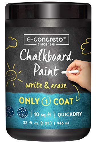 e-concreto One Coat Blackboard Paint Black + Chalk (32 fl. oz.)   Water-based and Non-toxic   Black Chalkboard Paint
