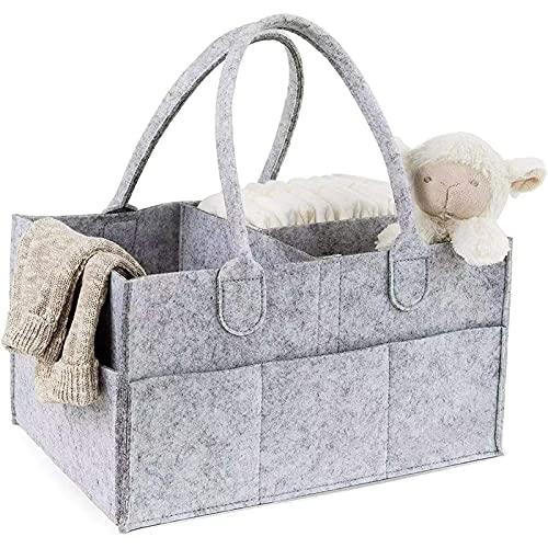Organizador de pañales con varios bolsillos de fieltro, cesta de almacenamiento portátil para pañales de bebé, guardería esenciales