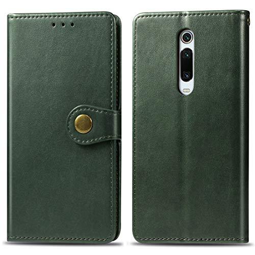 Kounshanpa Funda de cuero de protección de teléfono móvil con hebilla de cuero de color sólido retro con cordón y marco de fotos y ranura for tarjeta y billetera y función de soporte for Xiaomi 9T / 9
