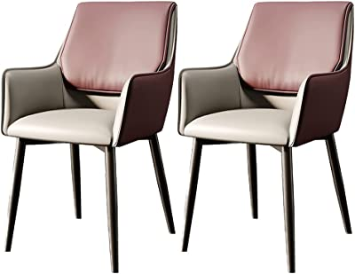 Set of 2 Dining Chairs Simple Chair Lounge Chair with Metal Legs PU Seat Waterproof Bedroom Living Room Office (Color : E)