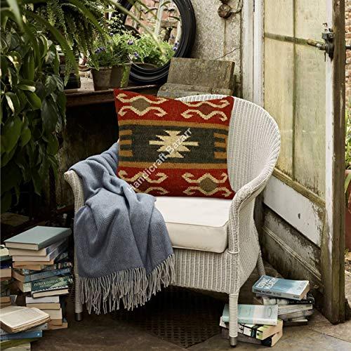 Handicraft Bazarr 18'' x 18'' Bohemian Traditional Vintage Kilim Wool Jute Pillow Cover Hippie Home Decor Sofa Cushion Cover Handwoven Floor Throw Maternity Pillow Case Kids Pillow