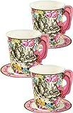 Talking Table Sets de Tasses de The et Soucoupes de Theme Alice Au Pays des Merveilles | Ideal pour Fetes d'anniversaire, fetes de Naissance et Gouter
