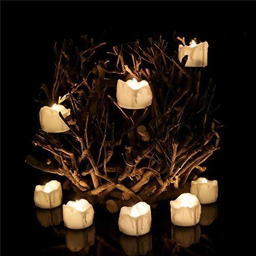 XXLYY 24pcs Candele a LED alimentate a Batteria con Timer, luci da tè Bianche Senza Fiamma Calde Candele tremolanti per la Decorazione della Festa del Ringraziamento di Natale di Halloween
