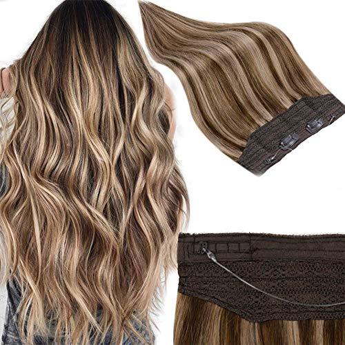 RUNATURE Halo Haarverlängerung 18 Zoll Farbe 3 Dunkelbraun Gemischt Mit Farbe 12 Dunkelblond 80g Echthaar In Extensions Halo Hair Extensions Echt Haar Verlängerung